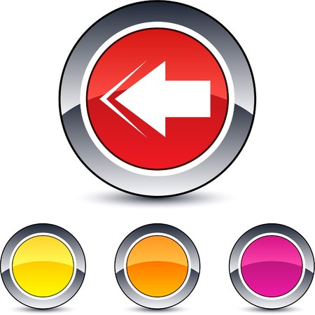 Back arrow glossy round web buttons.  Vector