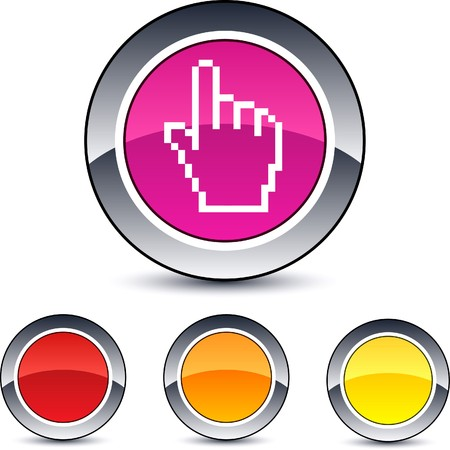 Pixel hand glossy round web buttons.  Vector
