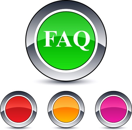FAQ glossy round web buttons.  Vector