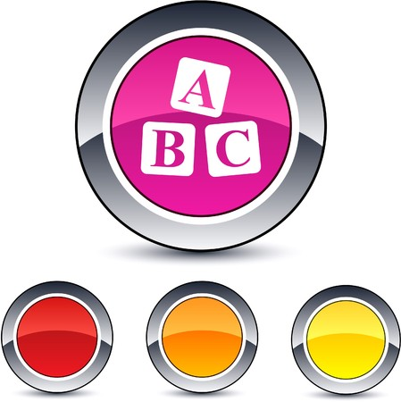 ABC cubes glossy round web buttons.  Vector