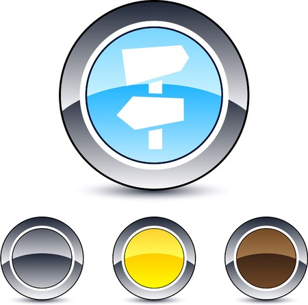 Road arrows glossy round web buttons.  Vector