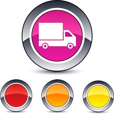 Delivery glossy round web buttons.  Vector