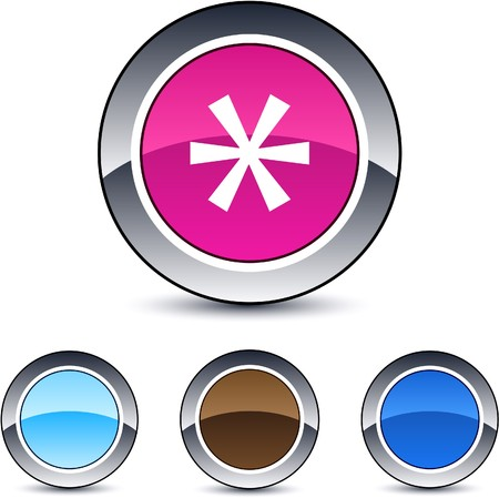 Asterisk glossy round web buttons.  Vector