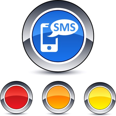 sms: SMS glossy round web buttons.