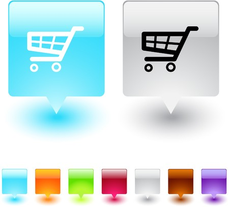 red retail: Shopping cart glossy square web buttons.  Illustration
