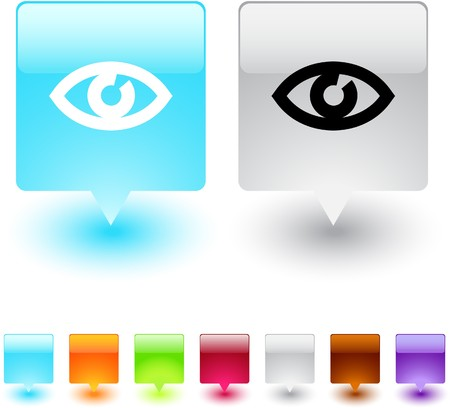 Eye glossy square web buttons.  Vector