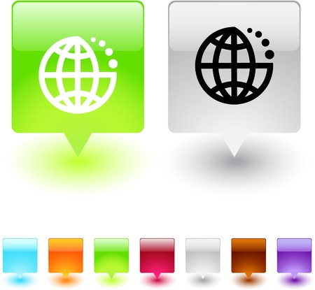 Planet glossy square web buttons.  Vector