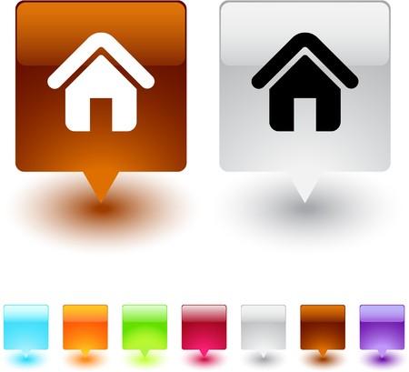 icono inicio: Botones de inicio web cuadrados brillante.