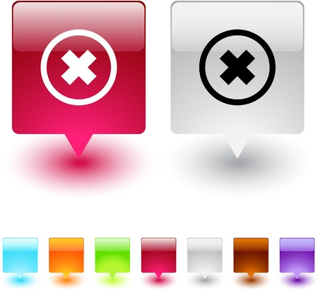 Delete cross glossy square web buttons.  Stock Vector - 7118607