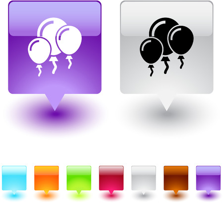 Party ballons glossy square web buttons.  Stock Vector - 7118638