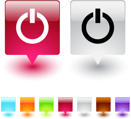 Power glossy square web buttons. Stock Vector - 7118617