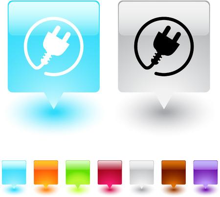 Botones de web cuadrados brillante de enchufe de alimentación.  Ilustración de vector