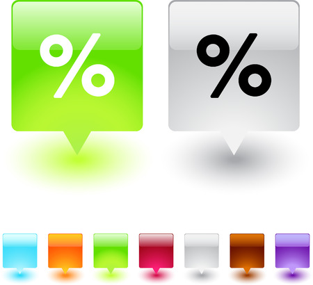 Percent glossy square web buttons.  Vector