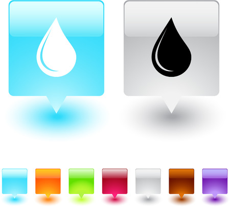 Drop glossy square web buttons.  Vector