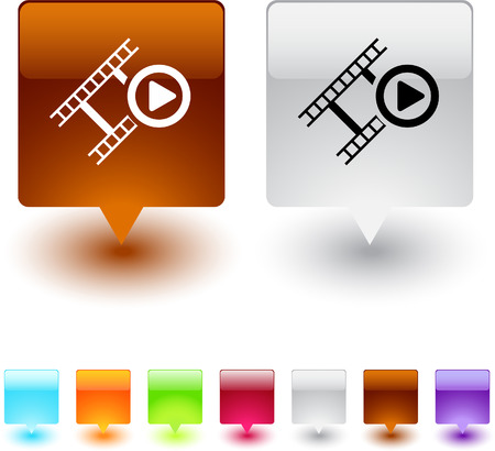 Film glossy square web buttons.  Vector