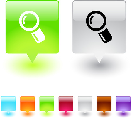 Zoom glossy square web buttons.  Vector
