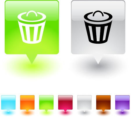 Dustbin glossy square web buttons.  Vector