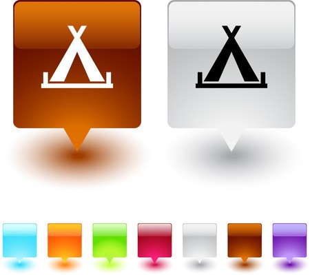 Tent glossy square web buttons.  Vector