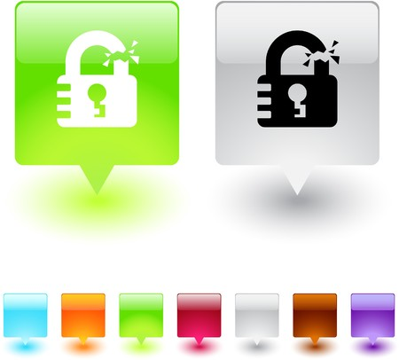 Unlock glossy square web buttons. Stock Vector - 7118648