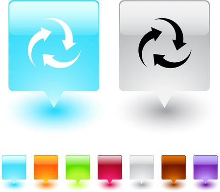 Recycle glossy square web buttons.  Vector