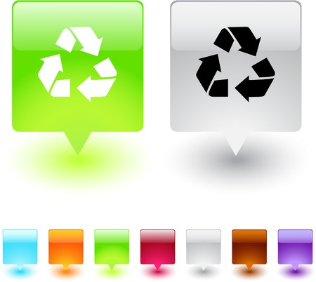 recycling glossy square web buttons.  Vector