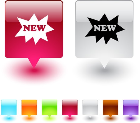 New glossy square web buttons.  Stock Vector - 7118657