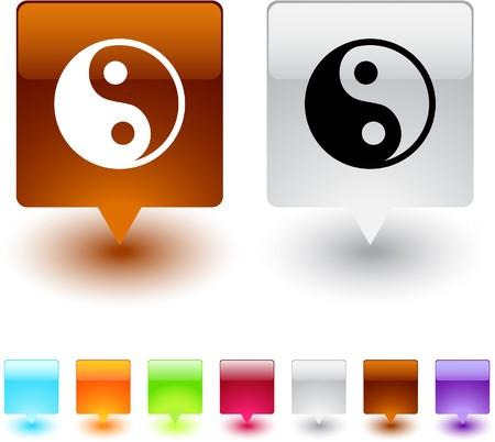 yinyang: yinyang glossy square web buttons. Illustration