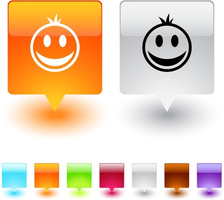 Smiley glossy square web buttons.  Vector