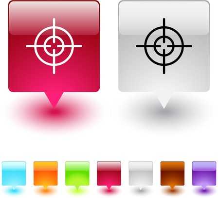 Sight glossy square web buttons.  Vector