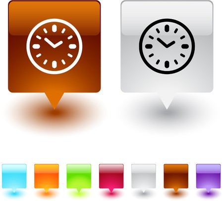 Time glossy square web buttons. Stock Vector - 7138477