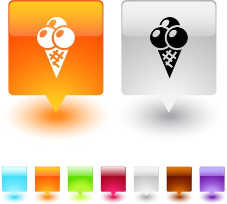 Icecream glossy square web buttons.  Vector