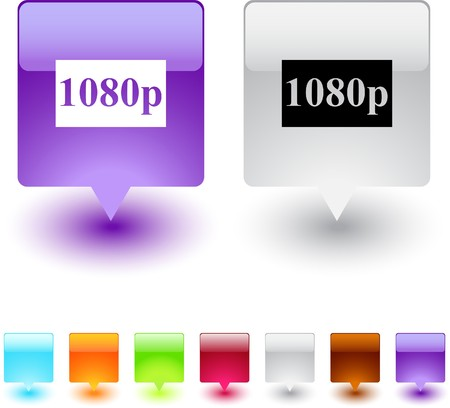 1080p glossy square web buttons.  Vector