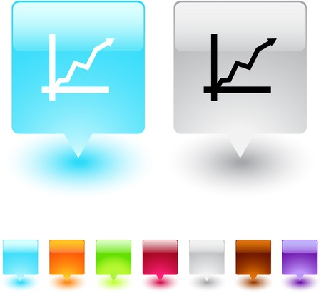 Positive trend glossy square web buttons.  Vector