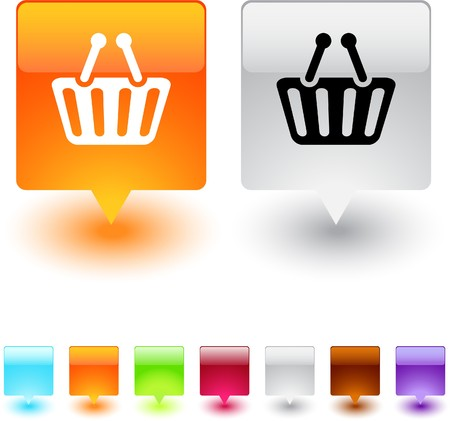 Shopping cart glossy square web buttons.  Vector