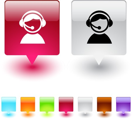 callcenter: Operator glossy square web buttons.  Illustration