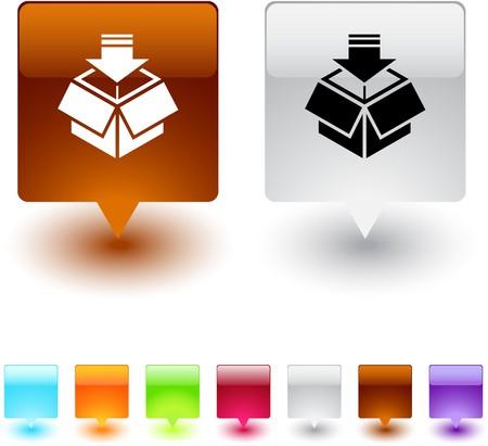 empacar: Botones de web cuadrados brillante de paquete.