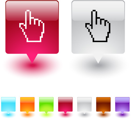 Pixel arrow glossy square web buttons. Stock Vector - 7138541