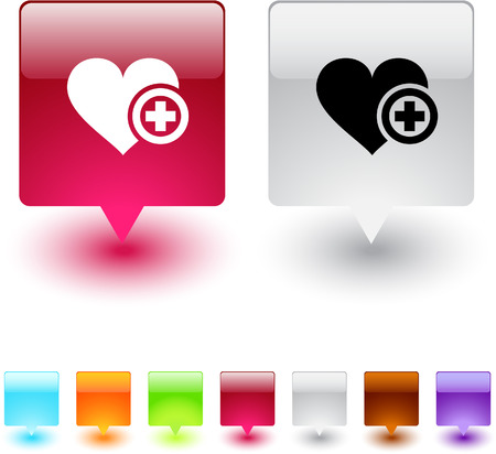 Add to vavorite glossy square web buttons.  Vector