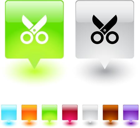 ciach: Nożyczki błyszczący kwadratowych sieci web przycisków.