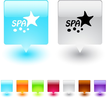 Spa glossy square web buttons.  Vector