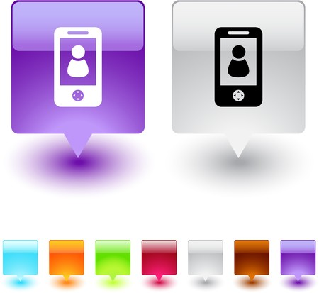 mobile icon: Person glossy square web buttons. Illustration