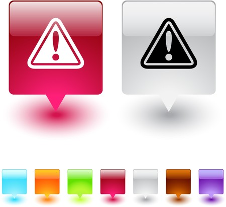cautious: Botones de web cuadrados brillante de signo de exclamaci�n.