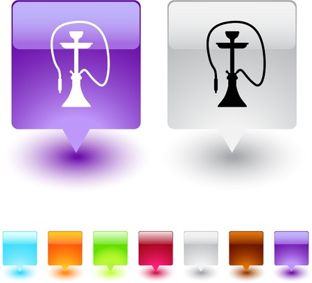 Hookah glossy square web buttons.  Illustration