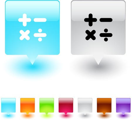 Calculate glossy square web buttons.   Vector