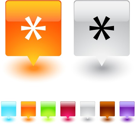 Asterisk glossy square web buttons.  Vector