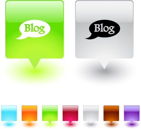 Blog glossy square web buttons.   Vector