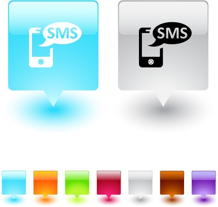 sms icon: SMS glossy square web buttons.  Illustration