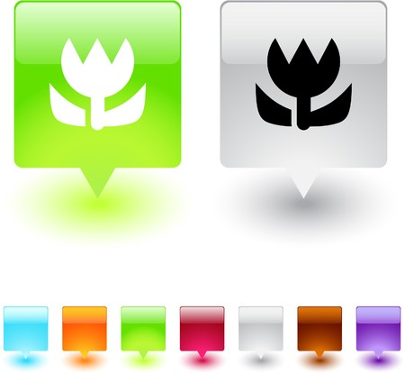 Macro glossy square web buttons.  Vector