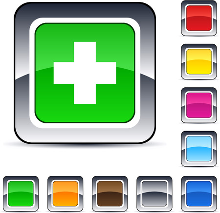 green plus: Plus glossy square web buttons.  Illustration