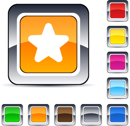 Star glossy square web buttons.  Vector